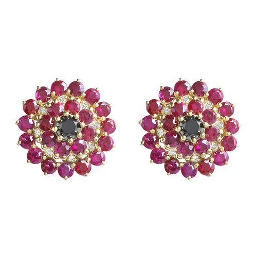 Brinco flor rubi e diamantes