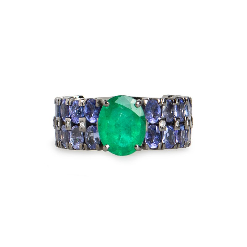 anel-esmeralda-tanzanita-brilhantes-frontal-ANONESM89900