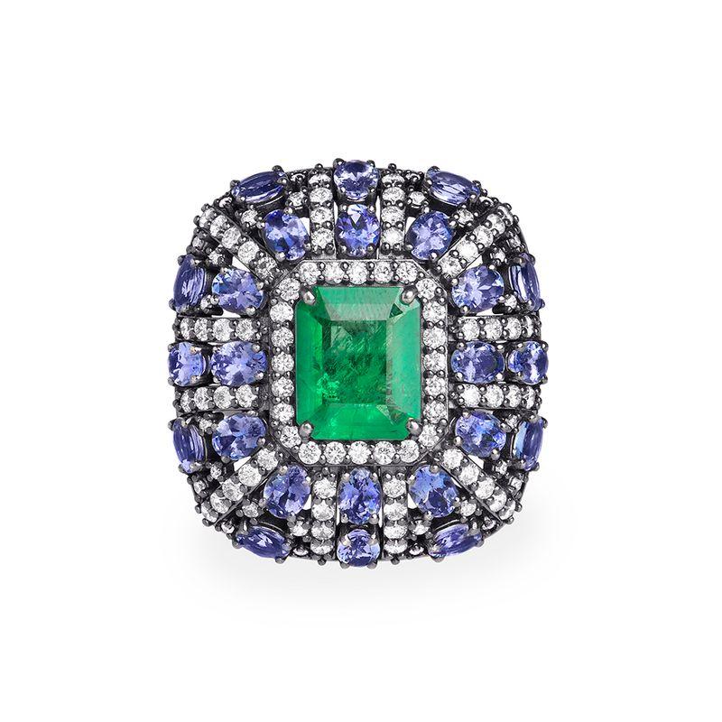 anel-esmeralda-tanzanitas-brilhantes-brancos-frontal