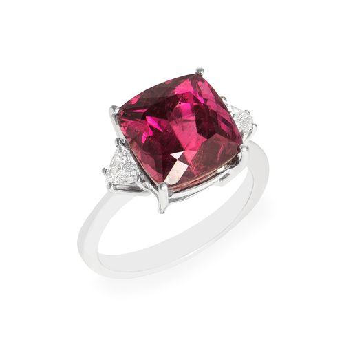 Anel rubelita e diamante