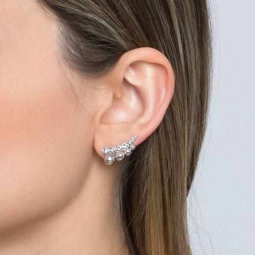 Brinco ear cuff topázio branco bolinhas