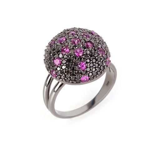 Anel safira rosa e brilhantes negros