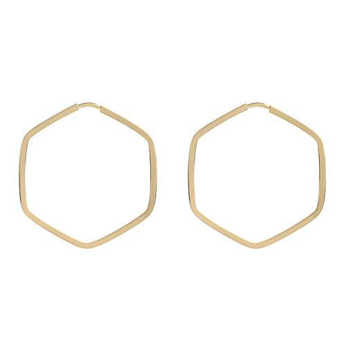 Brinco argola hexagonal