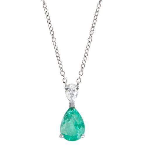 Colar esmeralda 0,68ct e diamante gota