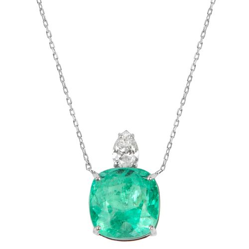 Colar esmeralda colombiana 6,47cts e diamante 44 pontos