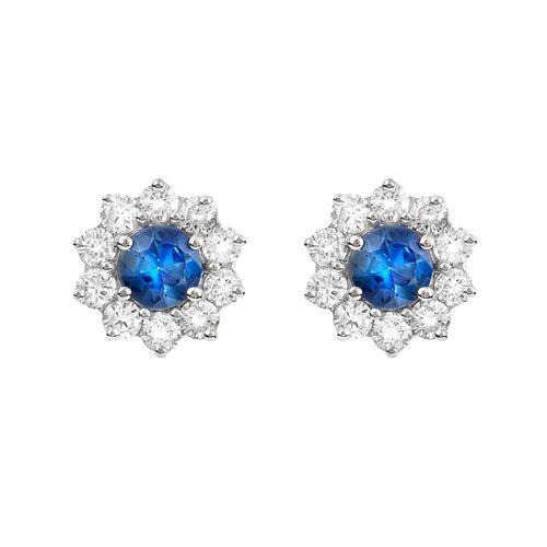 Brinco safira azul e brilhantes brancos